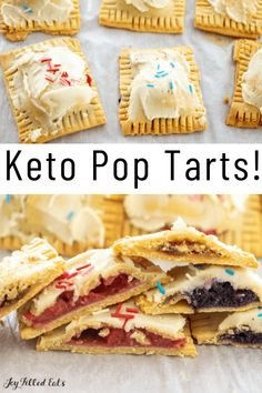 Homemade Keto Pop Tarts have a flaky dough filled with three different fillings. They are going to cure your morning sweet tooth and will impress all the food critics in your life! They are gluten-free, grain-free, low-carb, and keto-friendly. Healthy Low Carb Recipes, Low Carb Desserts, Keto Recipes, Keto Foods, Healthy Pop Tart Recipe, Healthy Food, Protein Desserts, Keto Snacks, Free Recipes