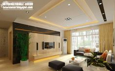 10 False ceiling modern design interior living room found on International Decor I think the ceiling gives a good and subtle frame for the living room area and also lightens up the room.
