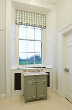 Painted vanity unit set in front of window with radiator behind Painted Vanity, Vanity Units, Bathroom Furniture, Joinery, Radiators, The Unit, Windows, Home, House