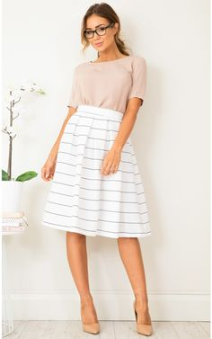 Out Of Office midi skirt in white stripe   SHOWPO Fashion Online Shopping