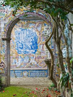 Where to Find the Most Beautiful Tiles in Lisbon - When in Lisbon, Look Down (And Up) - Quinta dos Azulejos was a private garden built in the 18th century.   ...  http://scotfin.com/scot-fin-novel/ says, 18th century; guess they're not available for my tiling job.