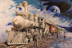 A mixed media artwork depicting a train in a fantasy scene Abstract Landscape, Landscape Paintings, Watercolor Paintings, Colored Pencil Artwork, Colored Pencils, Thing 1, Mixed Media Artwork, Chalk Art, Vintage Postcards