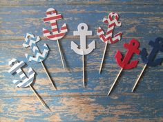Set of 24 Navy and Red Mixed Pattern Anchor Food Picks - Baby Showers,Nautical, Beach Weddings, Food Picks, Ahoy its a BOY, Navy and Red