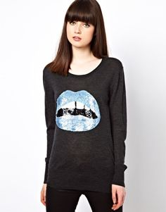 Image 1 of Markus Lupfer Blue Sequin Lips Sweater