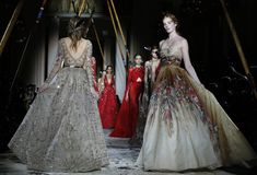 Models walk the runway during the Zuhair Murad Spring Summer 2018 show as part of Paris Fashion Week on January 24, 2018 in Paris, France.