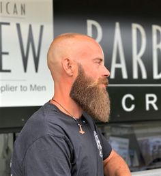 Daily Dose Of Great Beards ✔️from Bald Men With Beards, Bald With Beard, Great Beards, Awesome Beards, Beard And Mustache Styles, Beard Styles For Men, Beard No Mustache, Hair And Beard Styles, Beard Cuts