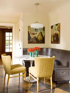 Embrace your space's inner bistro with this fun layout: http://www.bhg.com/kitchen/eat-in-kitchen/banquette-ideas/?socsrc=bhgpin071414bistrocharm&page=7