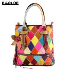 62.24$  Watch here - http://ali5lg.worldwells.pw/go.php?t=32749850479 - BICOLOR HandBag Handmade Multicolor Handbag Luxury Women Genuine Leather Handbags Shoulder Bags Ladies Floral Tassel Pattern Bag 62.24$