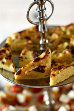 Baked Polenta Triangles are a deliciously simple appetizer from www.highheelstohotwheels.com #appetizer