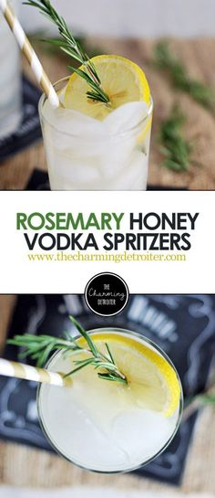Rosemary Honey Vodka Spritzers: A refreshing and simple cocktail featuring vodka paired with tart lemon juice, simple syrup, and rosemary! A refreshing and simple cocktail featuring vodka paired with tart lemon juice, simple syrup, and rosemary! Beach Cocktails, Cocktail Drinks, Cocktail Recipes, Alcoholic Drinks, Vodka Recipes, Margarita Recipes, Bartender Drinks, Cocktail Night, Snacks