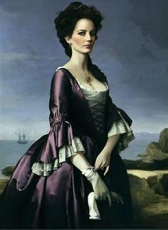 Sombras tenebrosas. Tim Burton, 2012.  Retrato de Angelique Bouchard (Eva Green), de estilo entre Neoclásico y Romántico.