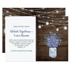 Rustic Forget Me Nots Mason Jar String Lights Card - invitations custom unique diy personalize occasions