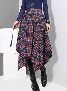 Amazing Fashion Plaid Irregular Pockets Skirt for Women on Newchic, there is always a plus size shorts & skirts that suits you! Calf Length Skirts, Moda Chic, Skirt Belt, Asymmetrical Skirt, Layered Skirt, Plaid Skirts, One Piece Swimwear, Skirt Outfits, Casual Dresses