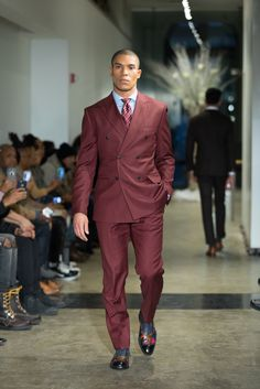   SUITS by Curtis Eliot   #NYFW Double Breasted Mens Burgundy Wool Suit with Peak Lapels