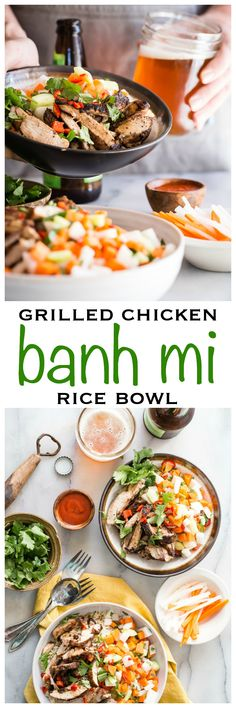 All the flavors of a traditional Vietnamese Banh Mi Chicken Sandwich but in a brown rice bowl. Healthy and super tasty! - Foodness Gracious