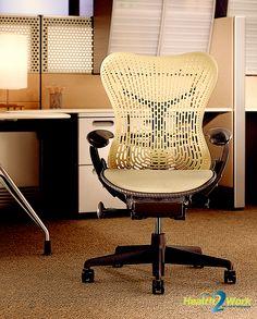 De Herman Miller ergonomische bureaustoel heeft een uniek design