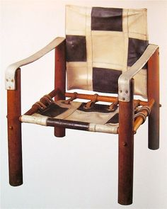 Eileen Grey; Wood and Leather Custom Chair for Car Designer Jean-Henri Labourdette, 1920s.