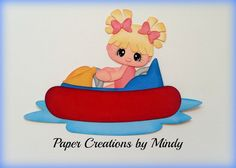 Bumper Boats Girl premade paper piecing for scrapbooks pages albums borders