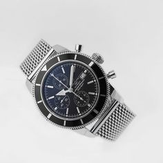 Breitling Superocean Heritage Chrono, photographed by Pamela Ossola, offered by Georg Königbauer - Watches For Life Bentley Gt, Breitling Superocean Heritage, Mesh Bracelet, Breitling Watches, Steel Mesh, Stainless Steel Watch, James Bond, Watch Bands, Luxury