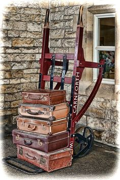 Vintage Leather Luggage // Cart It by 86home on Etsy   Luggage and ...
