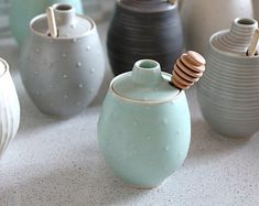 Pottery Honey Pot - Polka Dot Sea foam Green Ceramic Pot