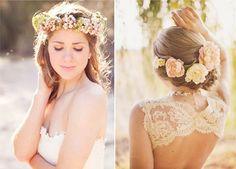 Hochzeit Brautfrisur Style: Romantische Blume im Haar