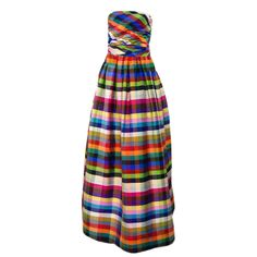 1970s Lanvin Attributed Plaid Gown