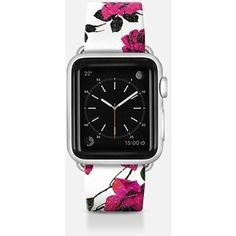 Apple Watch Band - Rustic Girly Pink and Black Rose Flowers on White Background