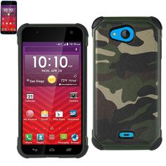 Reiko Design Hybrid Leather Protector Cover Kyocera Hydro Wave- Hydro Air- C6740 With Camouflage Design Army Green