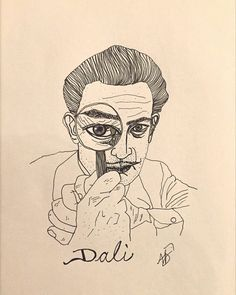An ink line drawing of the great Salvador Dali looking through a magnifying glass.