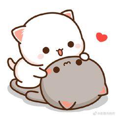Cute Bear Drawings, Cute Animal Drawings Kawaii, Cute Kawaii Animals, Kawaii Cat, Cute Love Pictures, Cute Love Gif, Cute Love Memes, Cute Cat Gif, Beautiful Pictures