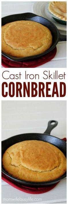 Cast Iron Skillet Cornbread Cornbread Recipes From Scratch Cast Iron Skillet Cornbread, Cast Iron Skillet Cooking, Iron Skillet Recipes, Cast Iron Recipes, Oven Recipes, Skillet Meals, Cooking Recipes, Skillet Chicken, Cooking Gadgets