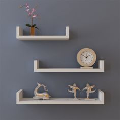 Set of 3 U Shape Floating Wall Shelves Storage Display Shelf.- Set of 3 U Shape Floating Wall Shelves Storage Display Shelf Wall Mounted Bookshelves, Wall Hanging Shelves, Wall Shelf Decor, Wood Wall Shelf, Shelves In Bedroom, Floating Wall Shelves, Display Shelves, Display Wall, Wall Ledge