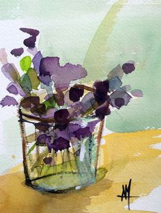 Lavender in Glass Jar Still Life Original Watercolor Painting by Angela Moulton 5 x 7 inch with 8 x 10 inch White Mat