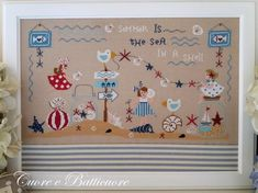Cuore E Batticuore Il Mare In Una Conchiglia - Cross Stitch Pattern . Summer is the sea in a shell Model stitched over two threads on 32 Ct. Cross Stitch Sea, Cross Stitch Borders, Modern Cross Stitch, Cross Stitch Charts, Cross Stitch Designs, Cross Stitch Embroidery, Cross Stitch Patterns, Cross Stitch Finishing, Shabby