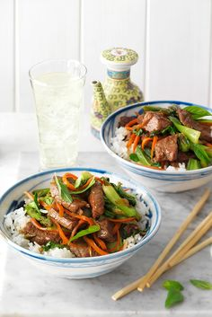 A soy beef stir-fry is delicious when served with asparagus and fluffy rice