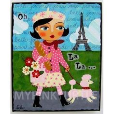 """PARIS French Girl and Pink Poodle Dog 8"""" x 10"""" giclee print of Eiffel Tower painting by LuLu Mypinkturtle available in my Etsy shop here !  https://mypinkturtleshop.etsy.com"""