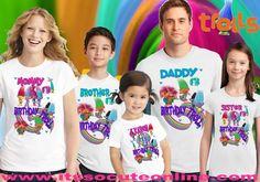 Trolls Birthday Shirt/Trolls Family Birthday Shirt Set/Trolls Custom Shirt/Trolls Birthday Party/Trolls T-Shirt/Trolls Personalized Shirt