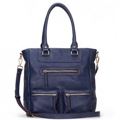 Women's Navy Faux Leather Double Pocket Tote | Dacia by Sole Society