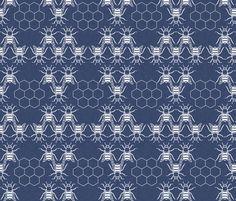 delft_honeybees fabric by holli_zollinger on Spoonflower - custom fabric