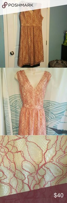 """Modcloth Lace and Mesh Dress sz 16/XL NWOT Cute dress, just not my style. Pretty mesh overlayer is in a dark pink/mauve with the underlayer being in a lighter shade of pink. Made by Lace and Mesh for Modcloth. NWOT   Approximate Measurements  Bust--21"""" Waist-17 1/2"""" Hips-20"""" Length-45"""" ModCloth Dresses"""