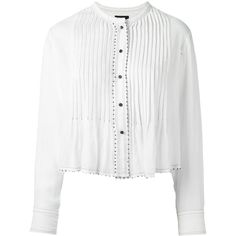 Isabel Marant Pelona Shirt (€255) ❤ liked on Polyvore featuring tops, shirts, white, cropped shirts, white shirt, long-sleeve shirt, long-sleeve crop tops and long sleeve tops