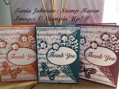 Tania Johnson : Stamp Haven: Musical Thank You #StampinUp #bold butterfly #bloomin love #sheet music