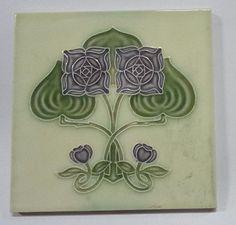 Vintage Art Nouveau Majolica Tile FLOWER Japan 44332