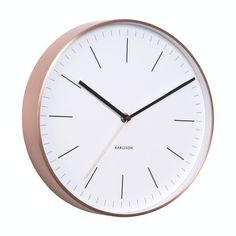 Minimal Wall Clock in Copper & White | LET LIV
