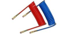 15 ft Heavy Duty Coiled Air Brake Hose Red/Blue Set