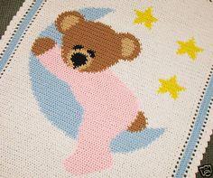 Sleepy Bear on The Moon Baby Afghan Graph Pattern Easy | eBay