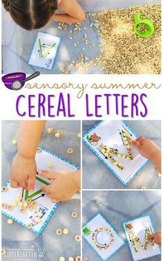 Practice fine motor skills and letter recognition with this cereal filled sensory bin! This is a perfect activity for summer tot school, preschool, or kindergarten! Teaching Toddlers Letters, Teaching The Alphabet, Teaching Phonics, Name Activities, Alphabet Activities, Sensory Activities, Teaching Letter Recognition, Abc Centers, Sensory Bins