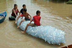 Used platic bottle boat