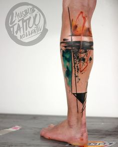 Abstract Leg Tattoo by Steve Newman